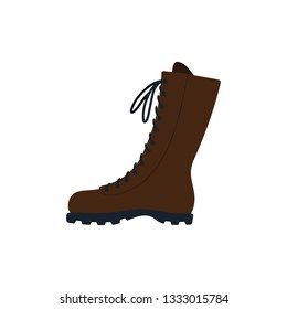 Hiking boot icon. Flat color design. Vector illustration.