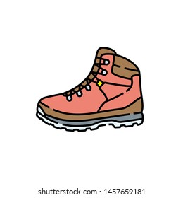 Hiking boot line icon. Outdoor leather boots symbol. Adventure shoes sign. Vector illustration.