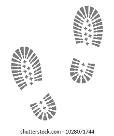 Hiking boots footprints. Isolated grey footprints on a white background. Flat icon. Abstract vector illustration.