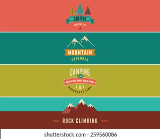 Hiking and camping banners, backgrounds