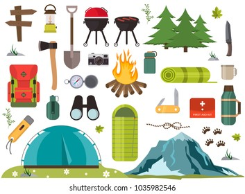 Hiking camping equipment vector campfire base camp gear and accessories illustration. Hike outdoor travel climbing elements. Forest tourism vacation adventure. Scout leisure expedition trip campground