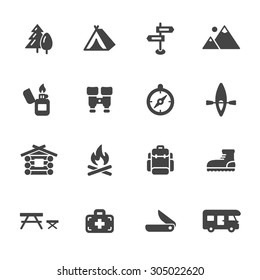 Hiking and camping icons. Simple flat vector icons set on white background
