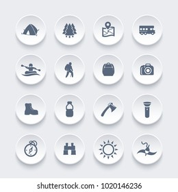 Hiking, camping, outdoor activities icons
