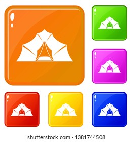 Hiking and camping tent icons set collection vector 6 color isolated on white background