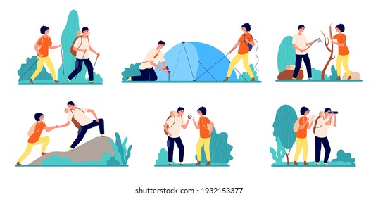 Hiking characters. People hike logging, travel with backpacks on nature. Summer camp adventures, adult standing on mountain utter vector set