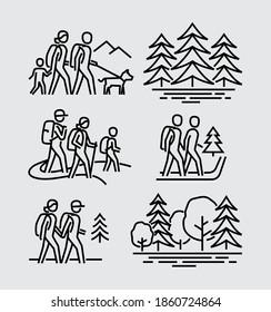 Vektorliniensymbole für Wandercoupons