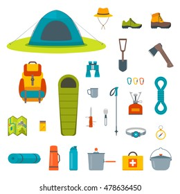 Hiking equipment and gear icon collection. Tourist camp tools. Set of outdoor elements.