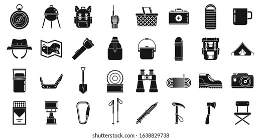 Hiking equipment icons set. Simple set of hiking equipment vector icons for web design on white background