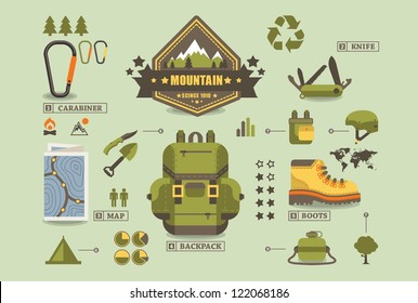 hiking equipment info graphics,mountain icons,