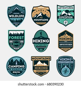 Hiking expedition vintage isolated label set. Outdoor adventure symbol, mountain and forest explorer, touristic extreme trip badge, nature trekking logo. People travel activity vector illustration