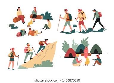 Hiking friends backpacking and camping mountains and forest isolated characters vector campfire and tents rucksacks logs and rock trekking sport and active recreation summer outdoor activity