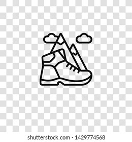 hiking icon from hobby collection for mobile concept and web apps icon. Transparent outline, thin line hiking icon for website design and mobile, app development
