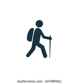 hiking icon on white background