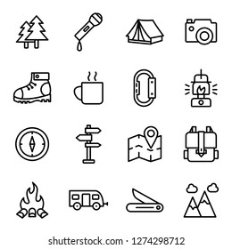 Hiking icons pack. Isolated hiking symbols collection. Graphic icons element