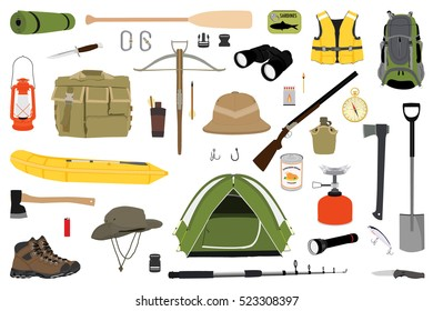 Hiking icons set. Camping equipment vector collection. Binoculars, boat, lantern, shoes, hat, tent, campfire. Base camp gear and accessories. Camping icon set. Hike outdoor elements.