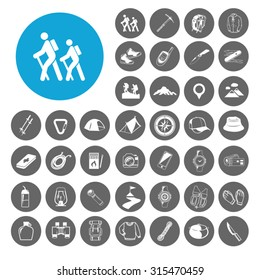 Hiking icons set. Illustration EPS10