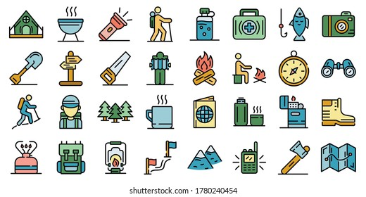 Hiking icons set. Outline set of hiking vector icons thin line color flat on white
