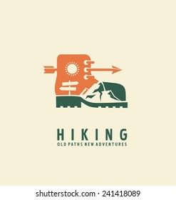 Hiking logo design template. Adventure symbol vector concept. Boot with landscape in negative space. Unique icon idea for recreation theme.