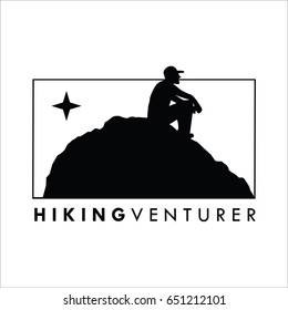 hiking logo silhouette with man on the top of mountain Vector Illustration