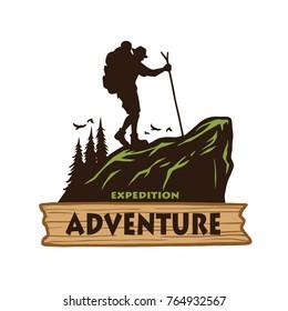 Hiking Logo Template. Vector Illustration Emblem Design