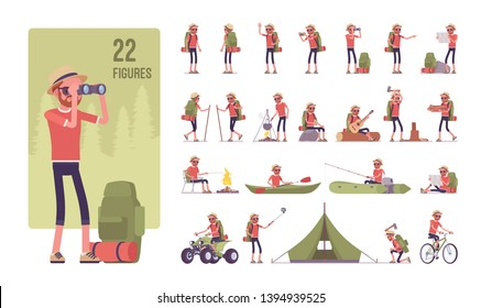 Hiking man character set. Male active tourist with backpacking gear, wearing travel clothes for outdoor sporting, camping leisure activity. Full length, different views, gestures, emotions and poses