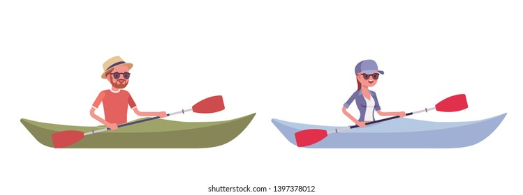 Hiking man, woman in boat. Tourists travelling over water, rowing with paddle, wearing clothes for outdoor sporting, leisure activity. Vector flat style cartoon illustration isolated, white background