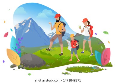 Hiking man and woman with son, hikers or backpackers vector. Outdoor activity, mountain or rock, family walking with backpacks, wild nature and sport. Mountain tourism. Flat cartoon
