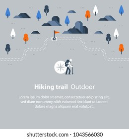 Hiking map, outdoor trail, countryside landscape, Nordic walking, orienteering concept, trail path with flag, nature park trekking, vector icon, flat illustration