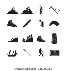 Hiking and mountain climbing icon set