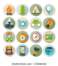 Hiking and mountain icons. Vector.