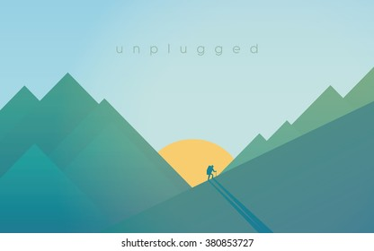 Hiking in mountains during sunset. Sport outdoor adventure relaxation concept with hiker silhouette. Eps10 vector illustration.