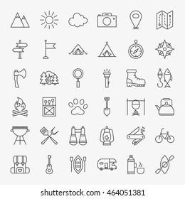 Hiking and Outdoor Line Icons Set. Vector Collection of Modern Thin Outline Camping Symbols. - Shutterstock ID 464051381