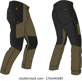 Hiking pants garment flats for fashion illustration with suggestive trims and branding