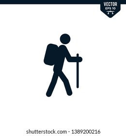 Hiking stick man icon collection in glyph style, solid color vector