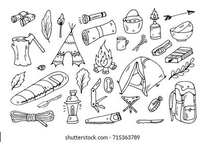 hiking and tourism doodle vector set