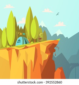 Hiking and tourism in the mountains background with tent on a cliff cartoon vector illustration