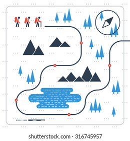 Hiking and tracking team in the mountains, sport orienteering in cross country, outdoor nordic walking. Group of people on trail map, vector illustration
