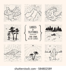 Hiking, traveling, recreation labels. Wild nature landscape, outdoor illustration. Artistic collection of hand drawn design elements, inked textures & patterns for poster, flyer decor, t-shirt print.