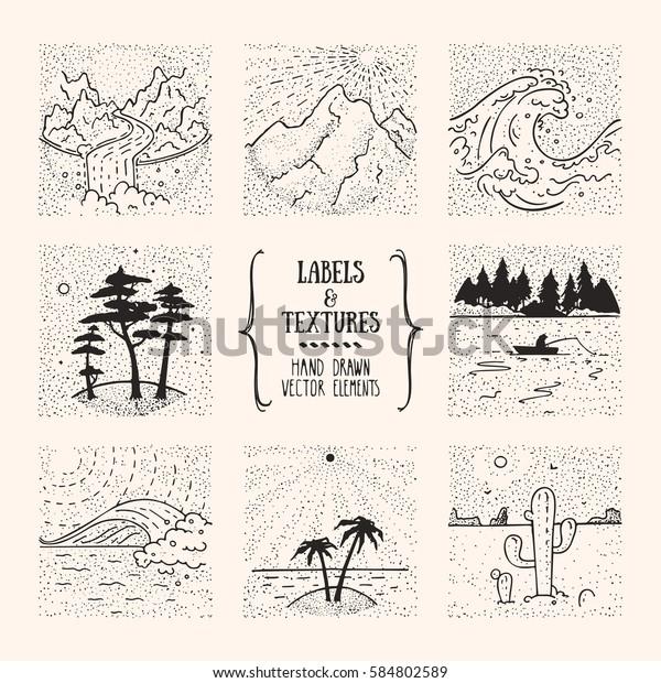 ハイキング 旅行 レクリエーションのラベル 自然の風景 アウトドアイラスト 手描きのデザインエレメント インクテクスチャのアーティスティックコレクション のベクター画像素材 ロイヤリティフリー