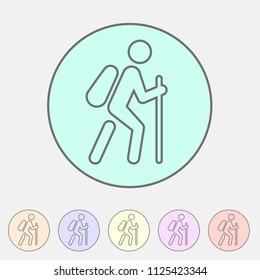 Hiking treking icon icon flat web sign symbol logo label