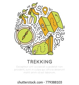Hiking and trekking icon hand draw vector concept in round form. Travel climbing and camping, tracking outroor activities icon in circle with decorative elements. Vector sketch adventure icons