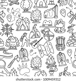 Hiking and trekking travel seamless pattern. Endless repeatable background with cartooning traveling elements about camping, vacation and wild life. Woods, forest and outdoor adventure background