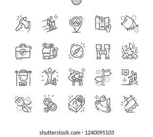Hiking Well-crafted Pixel Perfect Vector Thin Line Icons 30 2x Grid for Web Graphics and Apps. Simple Minimal Pictogram