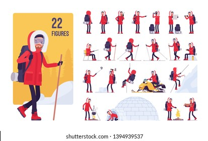 Hiking winter man character set. Male tourist with backpacking gear, wearing travel clothes for outdoor sporting, camping leisure activity. Full length, different views, gestures, emotions and poses