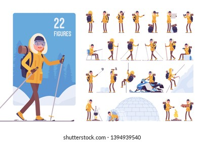 Hiking winter woman character set. Female tourist with backpacking gear, wearing travel clothes for outdoor sporting, camping leisure activity. Full length, different views, gestures, emotions, poses