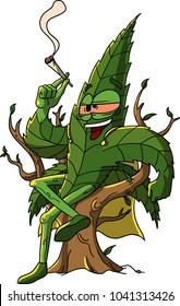 Hilariuos Marijuana leaf sitting on a tree smoking a joint. Vector illustration.