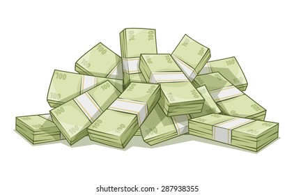 Hill of bundles with money. Business and banking concept. Eps10 vector illustration. Isolated on white background. Cash dollars money pile. Currency bills.