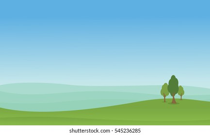 Hill with tree of landscape