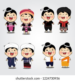 Hill tribe woman and man dress cartoon vector, Hmong,Mien,Tai Leu,Thai Phuan,north tribe, of Thailand,an ethnic group of China