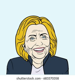 Hillary Clinton, Pop Art Flat Design, Vector Illustration. July 24, 2017.